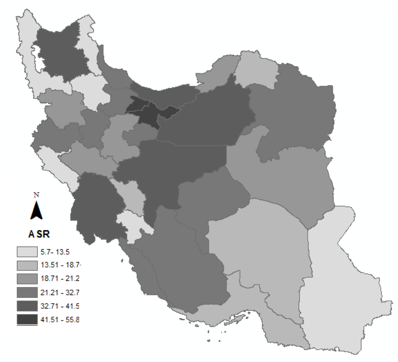 Figure 1 The geographic distribution of age specific rate (ASR) of breast cancer for females in Iran