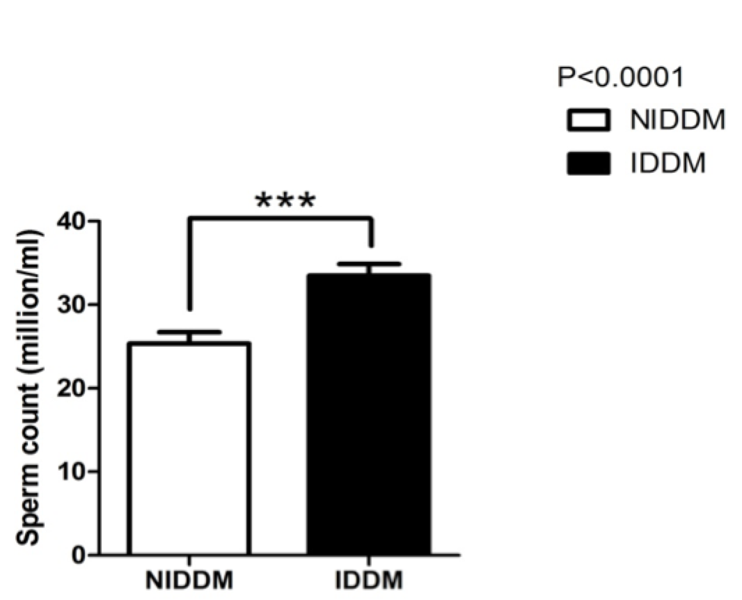 Figure 2 The mean difference between sperm count of insulin and metformin- dependent diabetics
