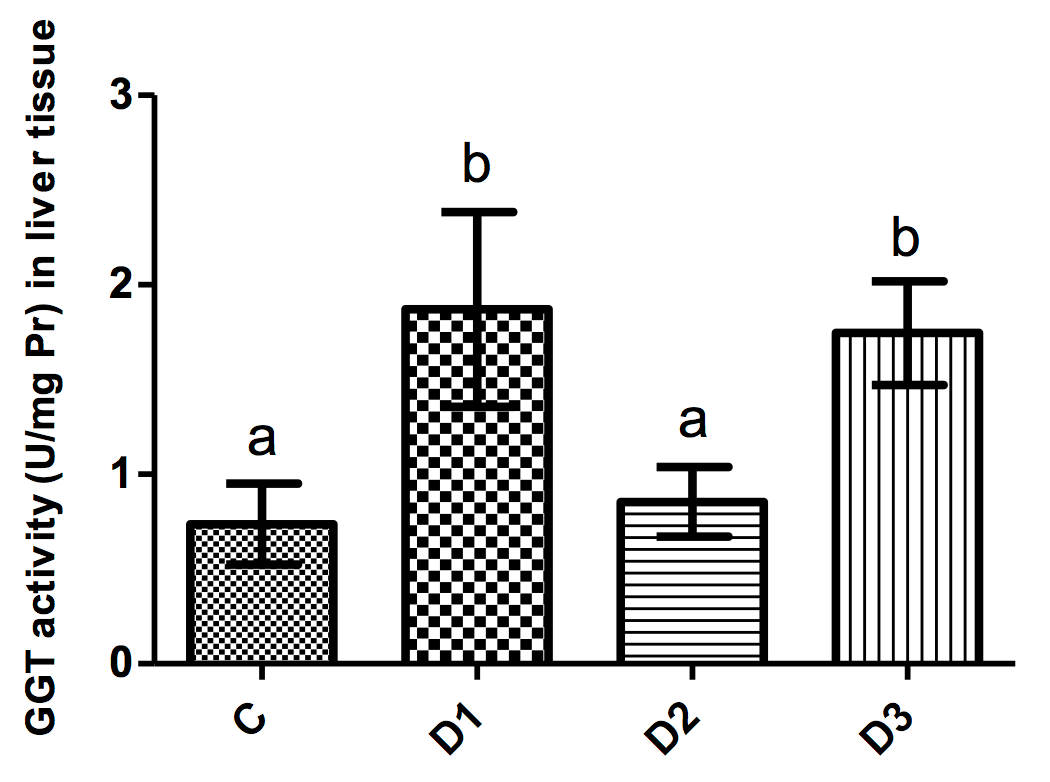 Figure 4 GGT activity (mean±SD) in liver tissues of mice in different groups